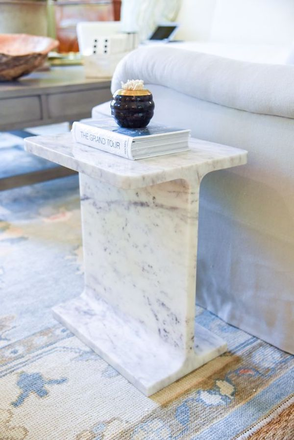 Solid marble block side table