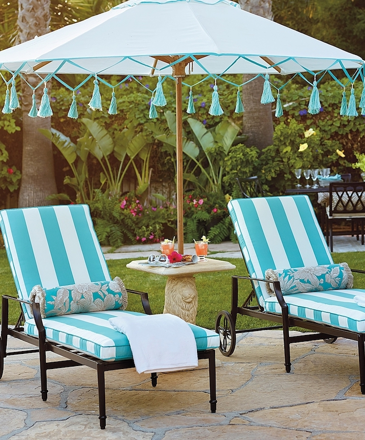 Striped lounge chairs turquoise via Frontgate