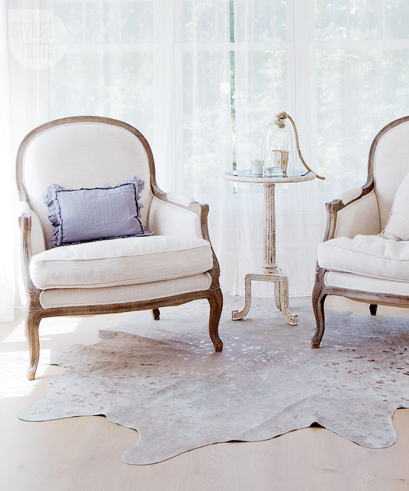 Twin White French Bergere Chairs