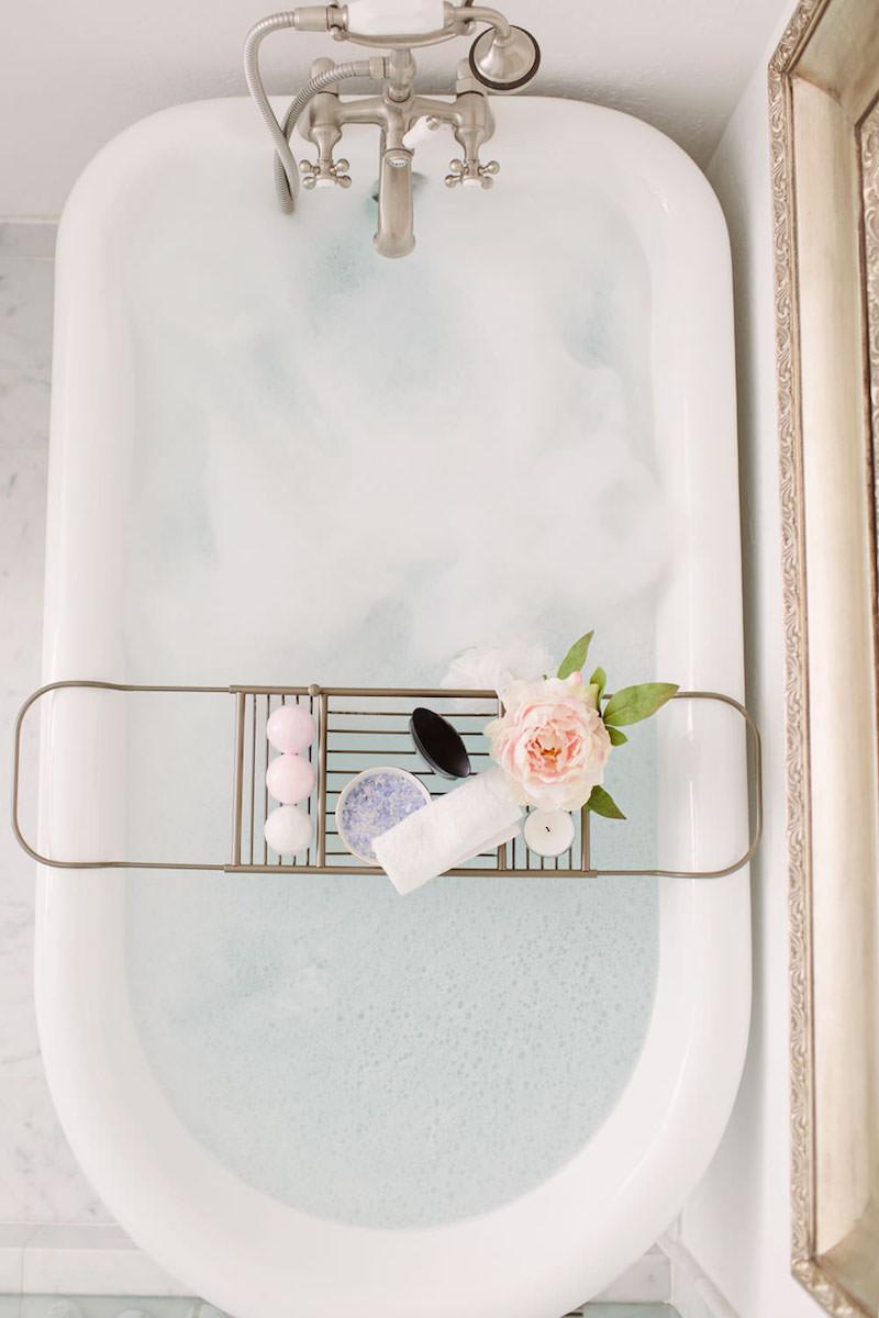 White Bathtub with silver caddy