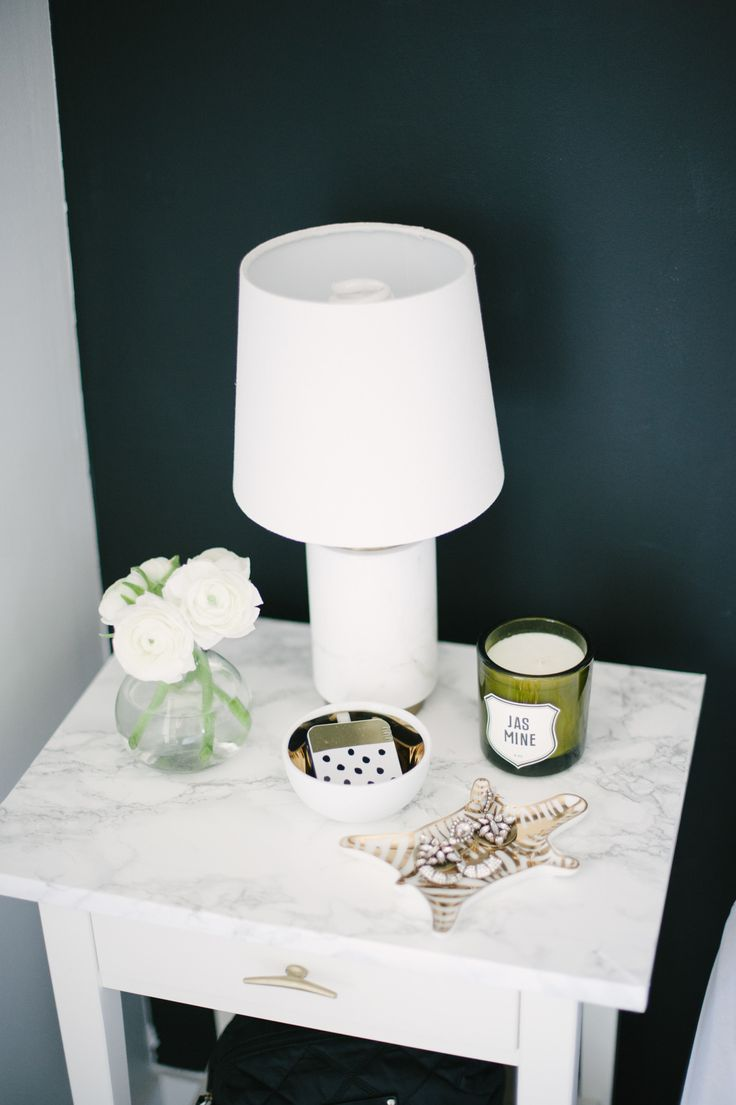 White Marble Bedside table via SMP