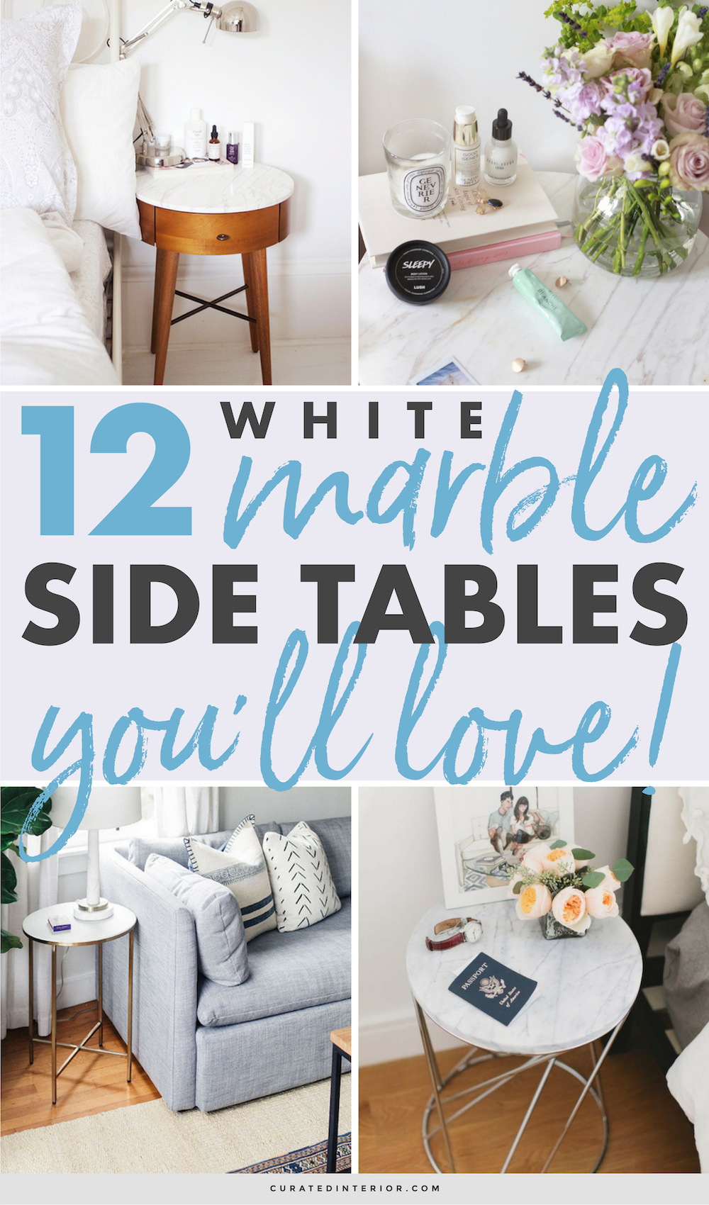 White Marble Side Tables You'll Love! #marble #whitemarble #sidetables