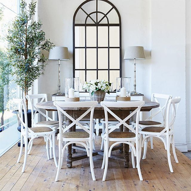 White X-back chairs dining room via french dressing