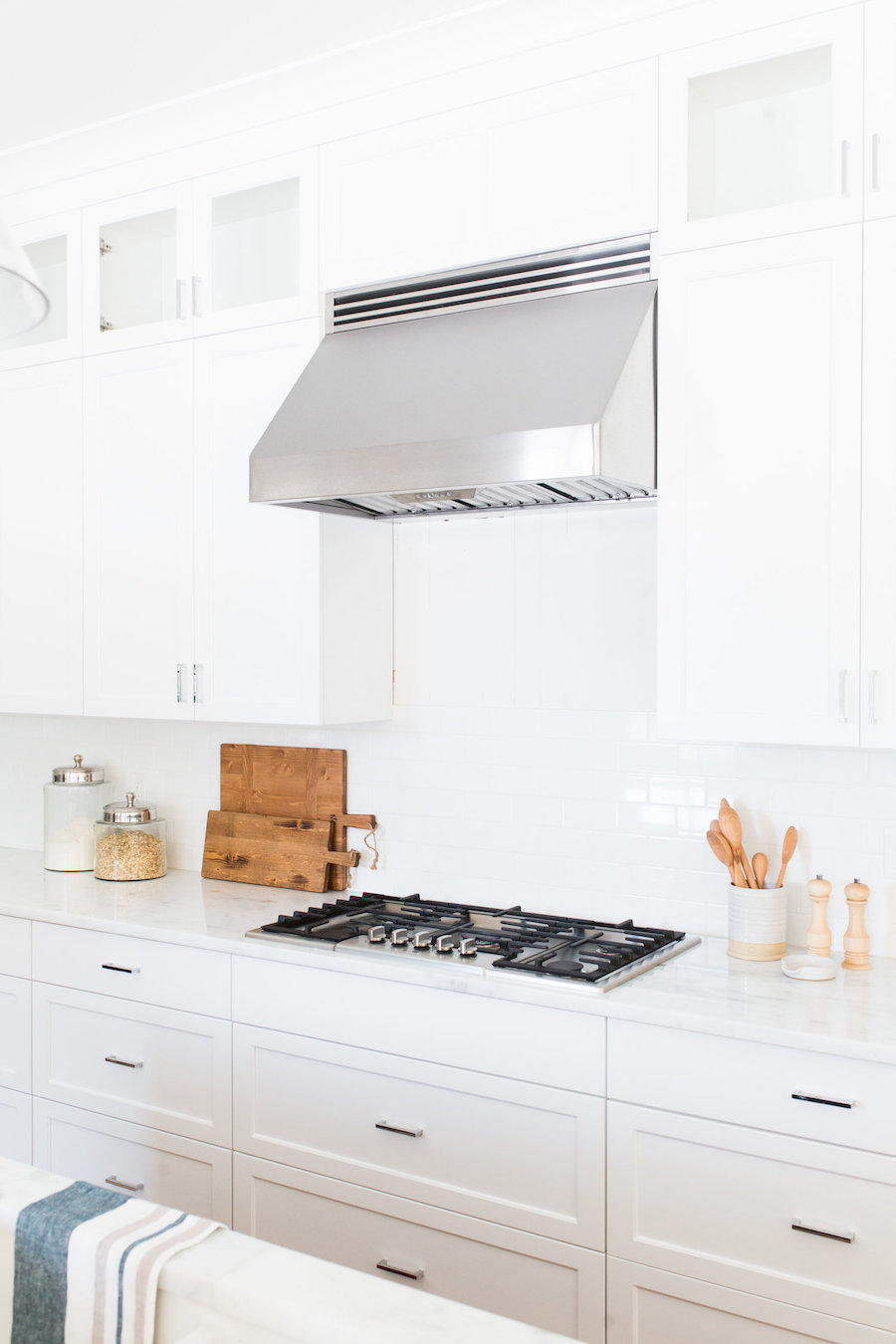 Wood Cutting Board in white kitchen via Studio McGee