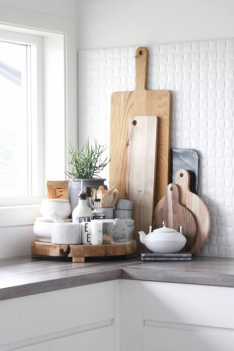 Wood cutting boards in the kitchen