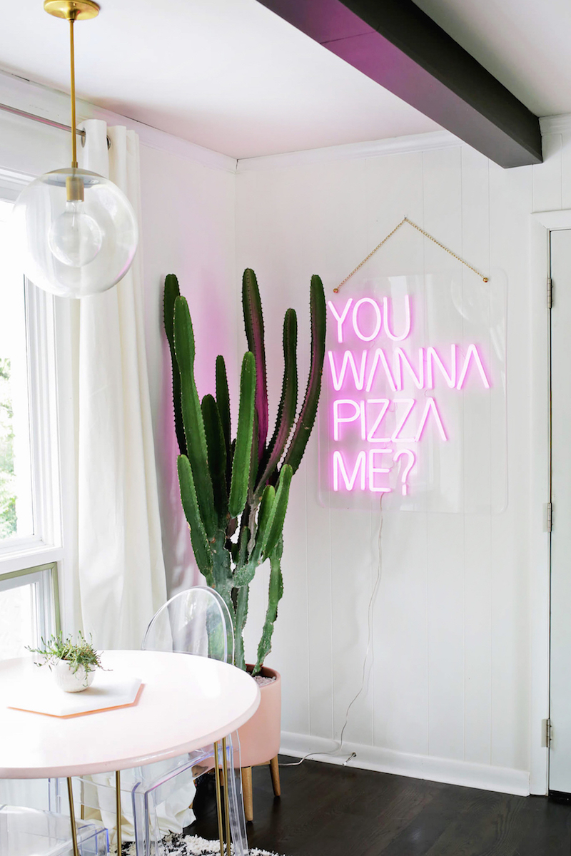 You wanna pizza me neon sign dining nook