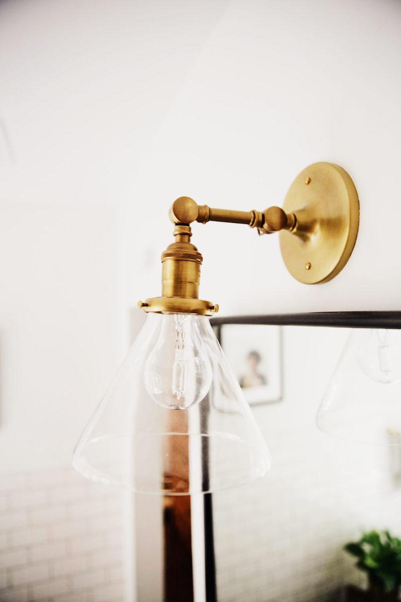 Bathroom brass sconce Schoolhouse electric via New Darlings