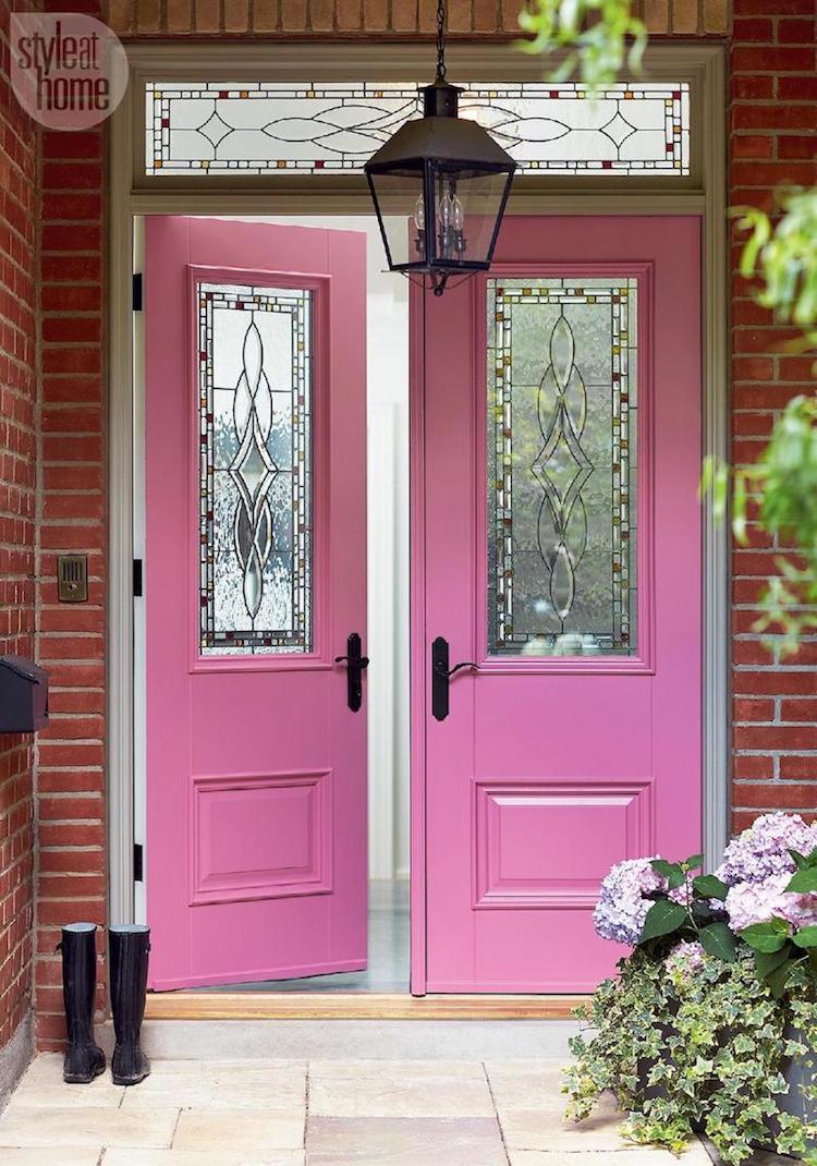 Bright pink front doors