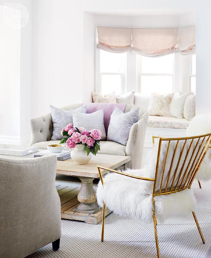 Bright white living room with farmhouse touches