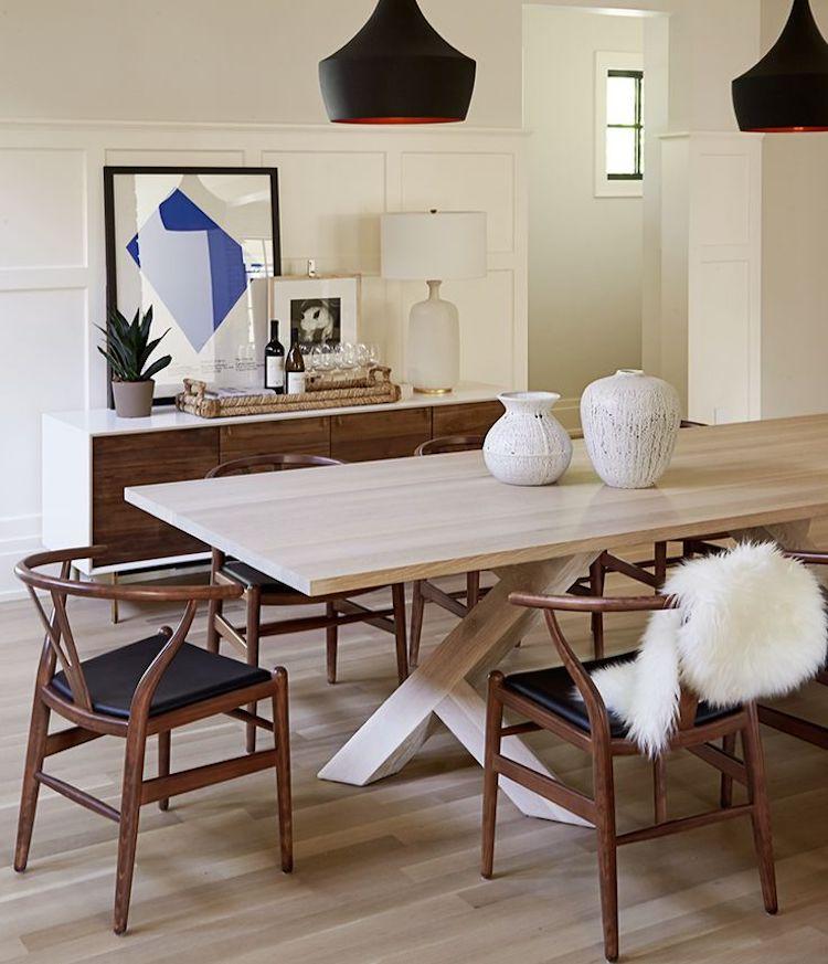 Dark brown wishbone chairs dining room via Nam Dang-Mitchell Design