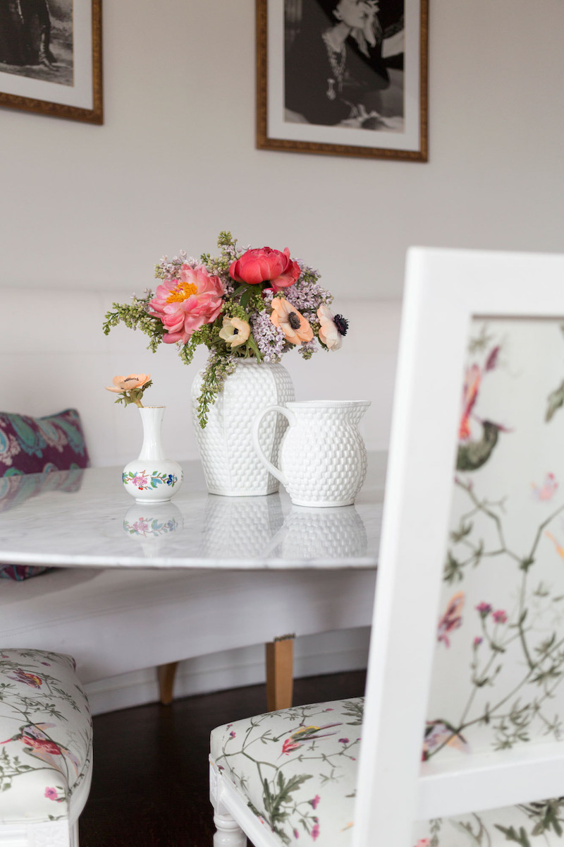 Dining chairs with floral upholstery