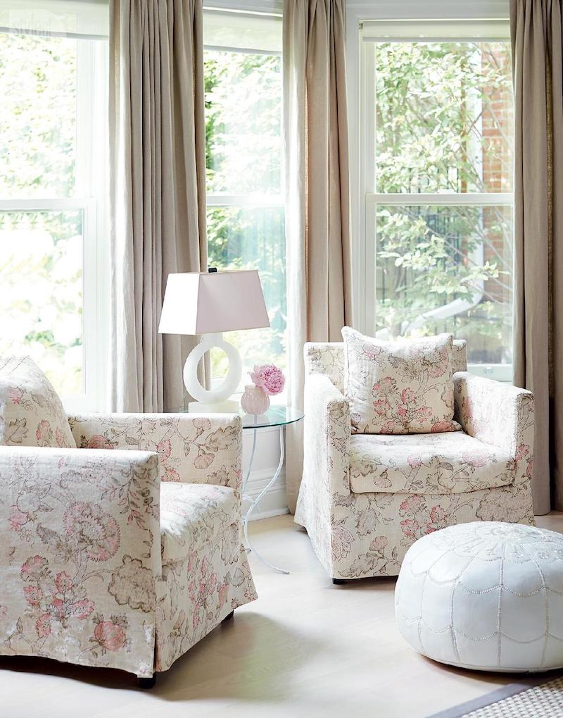 Floral upholstered sitting chairs