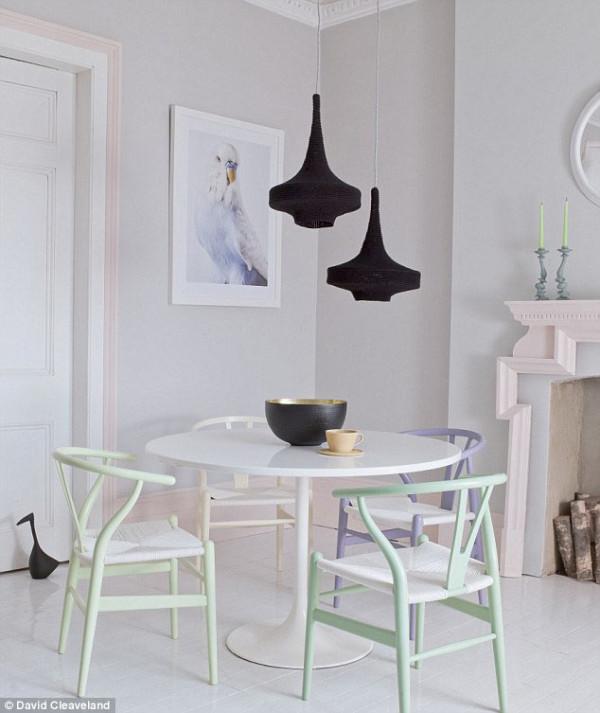 Pastel wishbone chairs dining room via Laura Fulmine