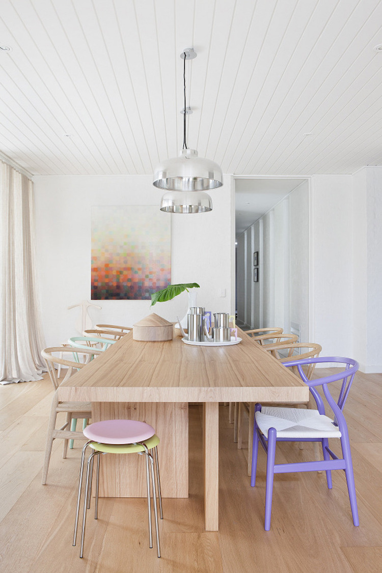 Pastel wishbone chairs in dining room via Hecker Guthrie