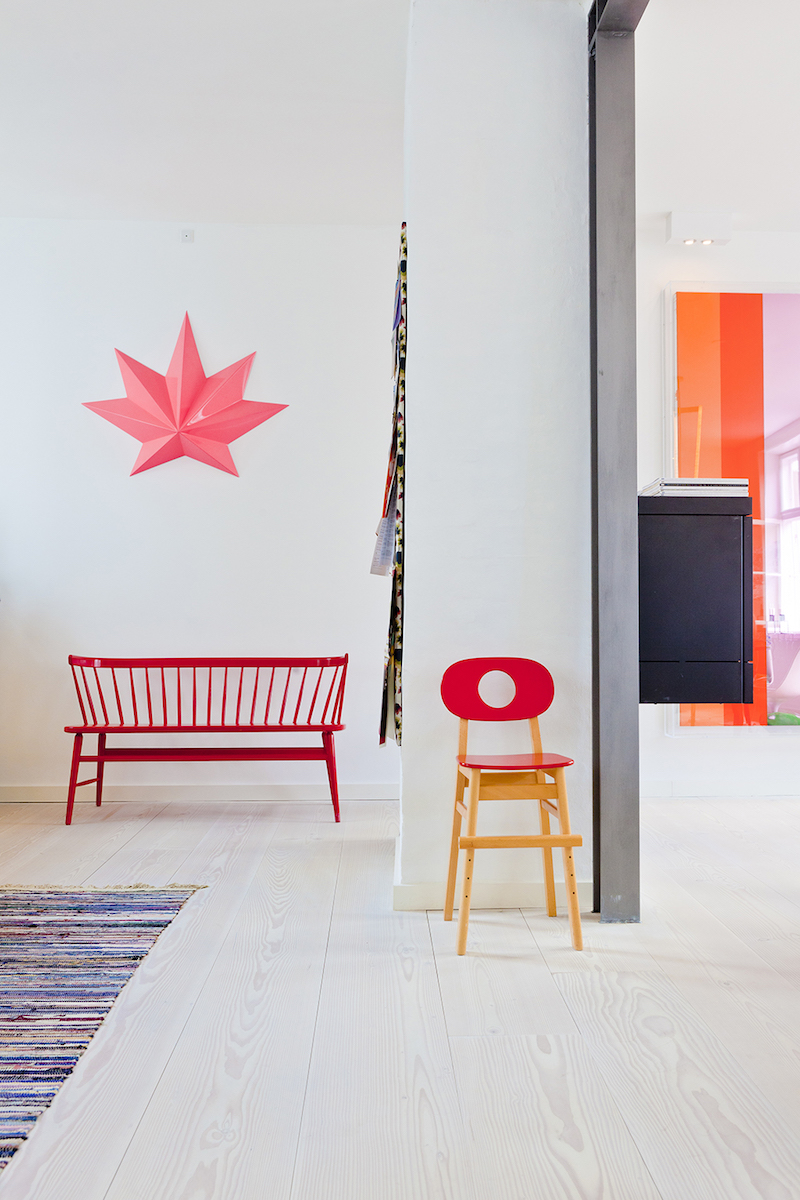 Red scandi bench in Copenhagen's The Apartment