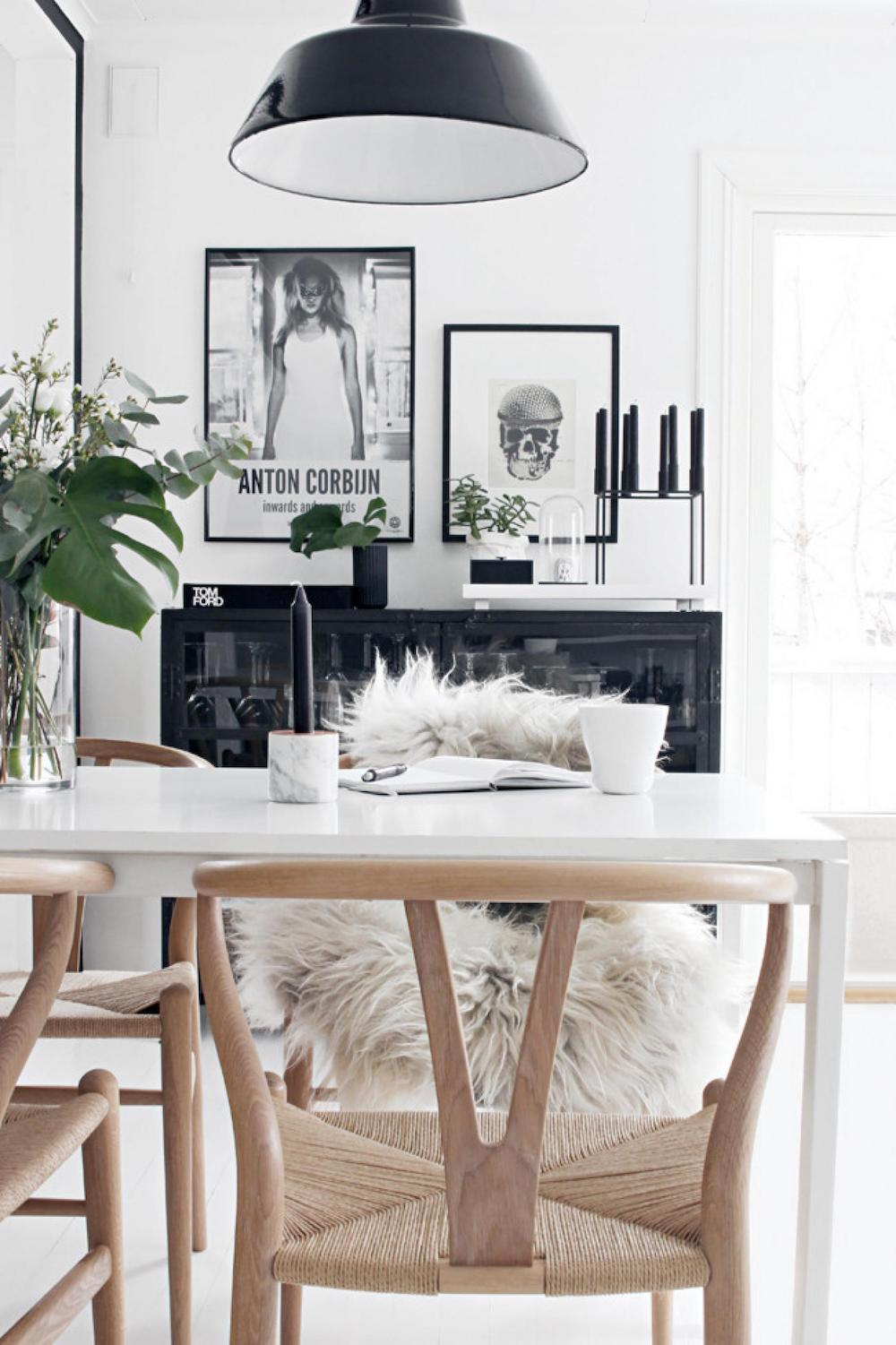 Scandinavian wishbone chair dining room via Inside Out