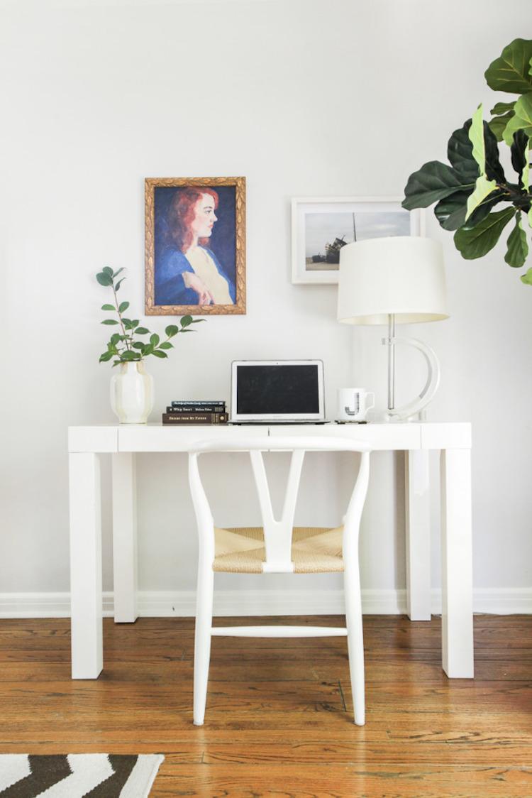 White Wishbone Chair At Home Office Desk Via Homepolish