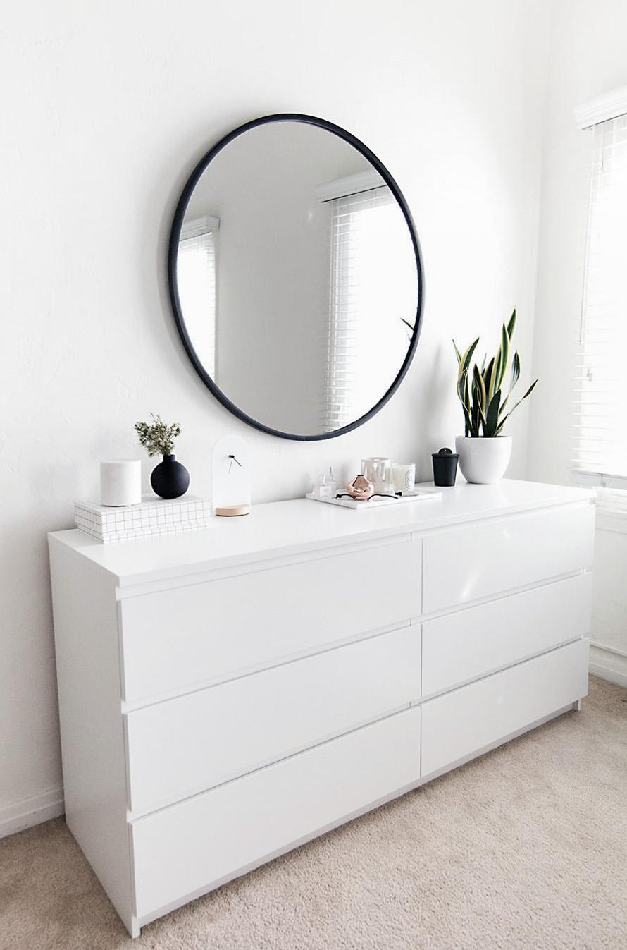 Minimal white wide dresser