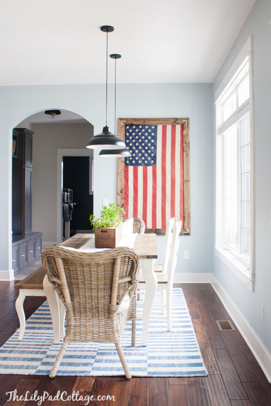 American Flag decor in dining room via The Lilypad Cottage
