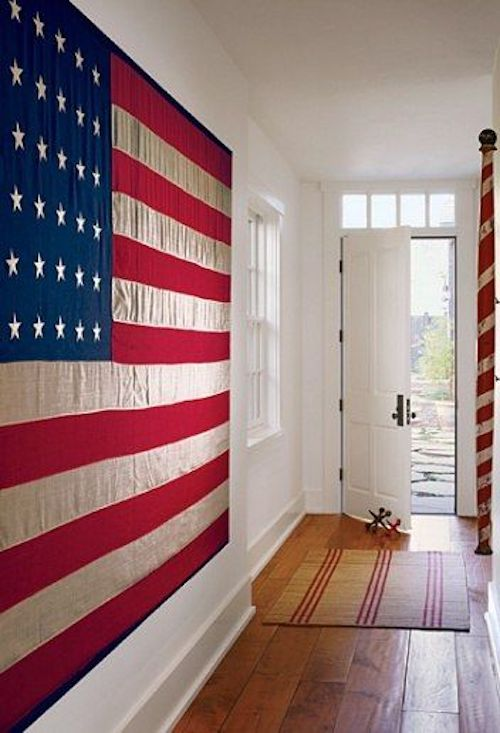 American flag hanging in entry way
