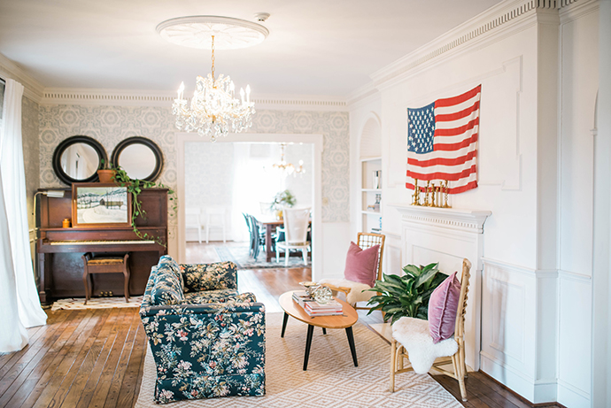 American flag living room