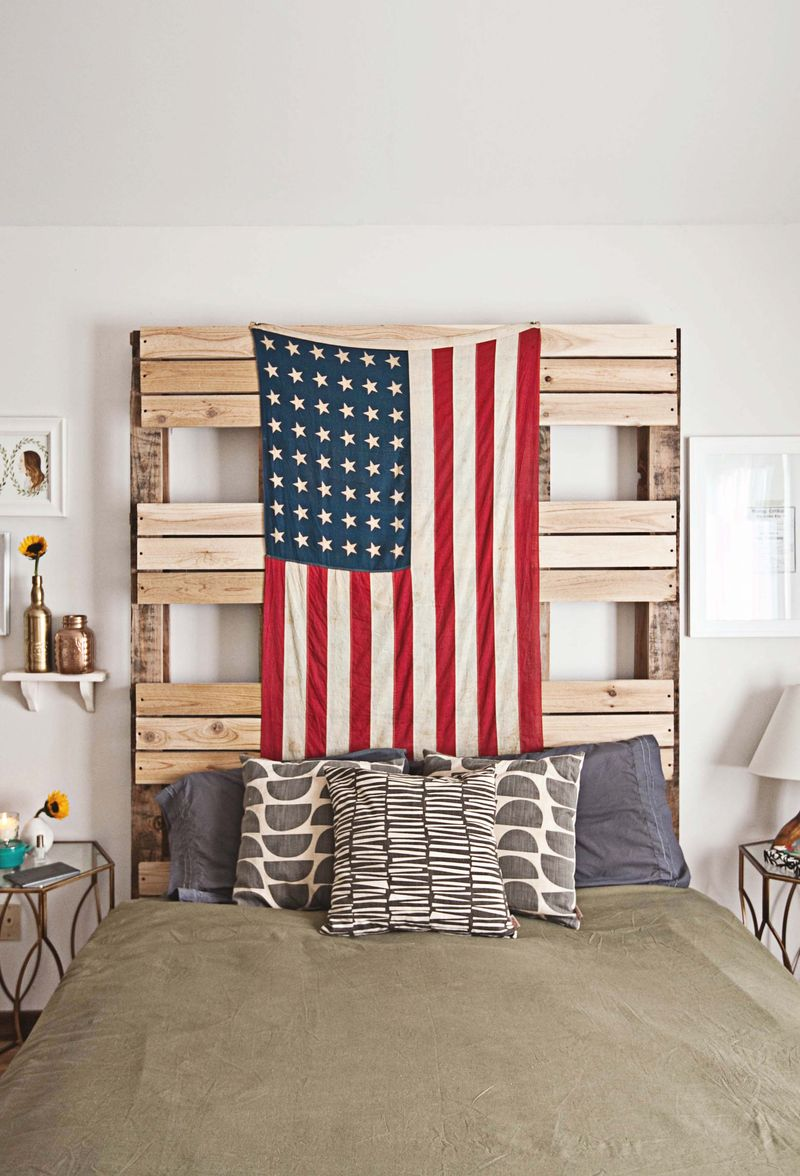 American flag on palette headboard via ABM