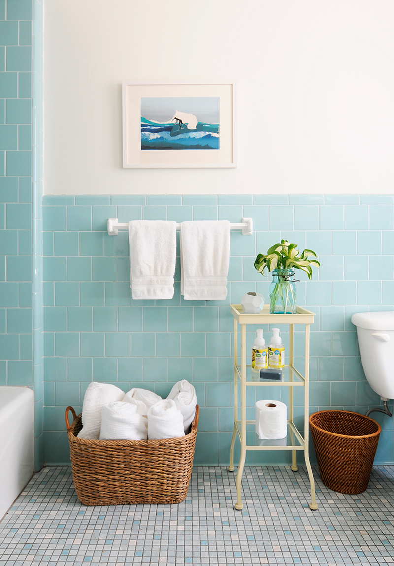 Baby blue subway tiling in the bathroom via Rue Mag