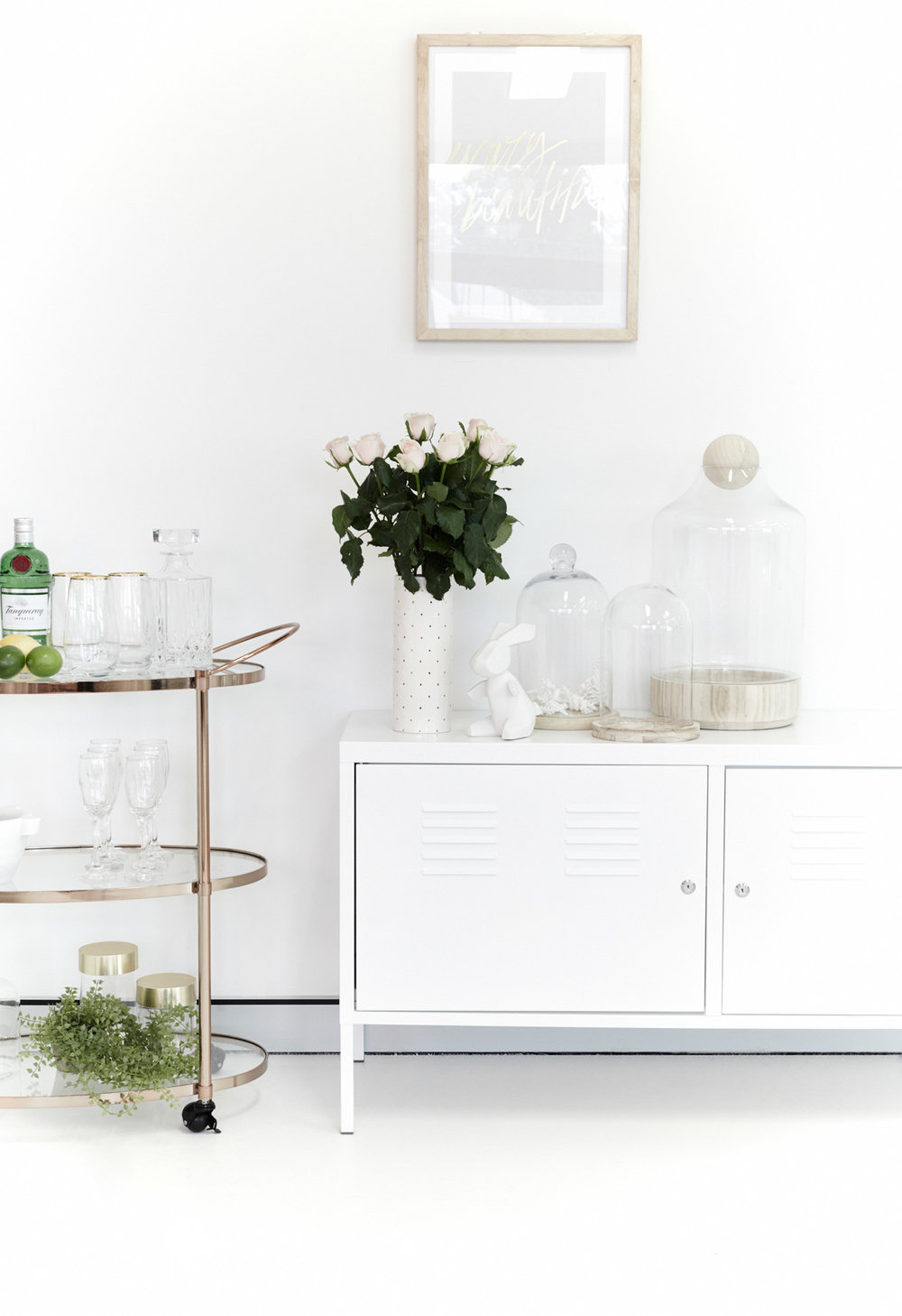 Barcart with white console table styling
