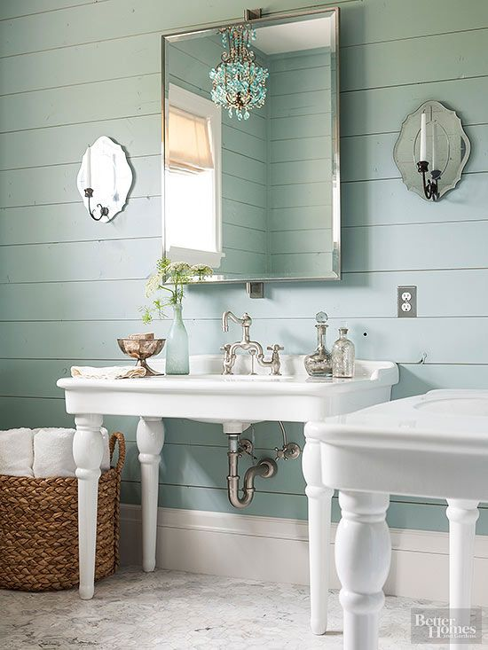 Bathroom with Mint green walls via BHG