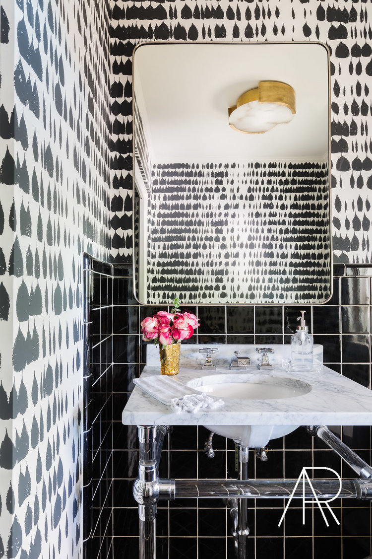 Black and white wallpaper bathroom with marble sink via Alyssa Rosenheck