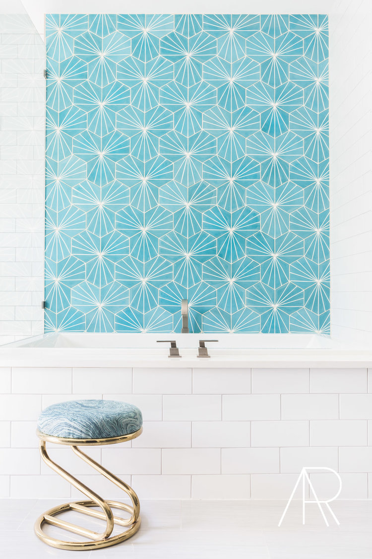 Blue Hexagon tiles above Bathtub via Alyssa Rosenheck
