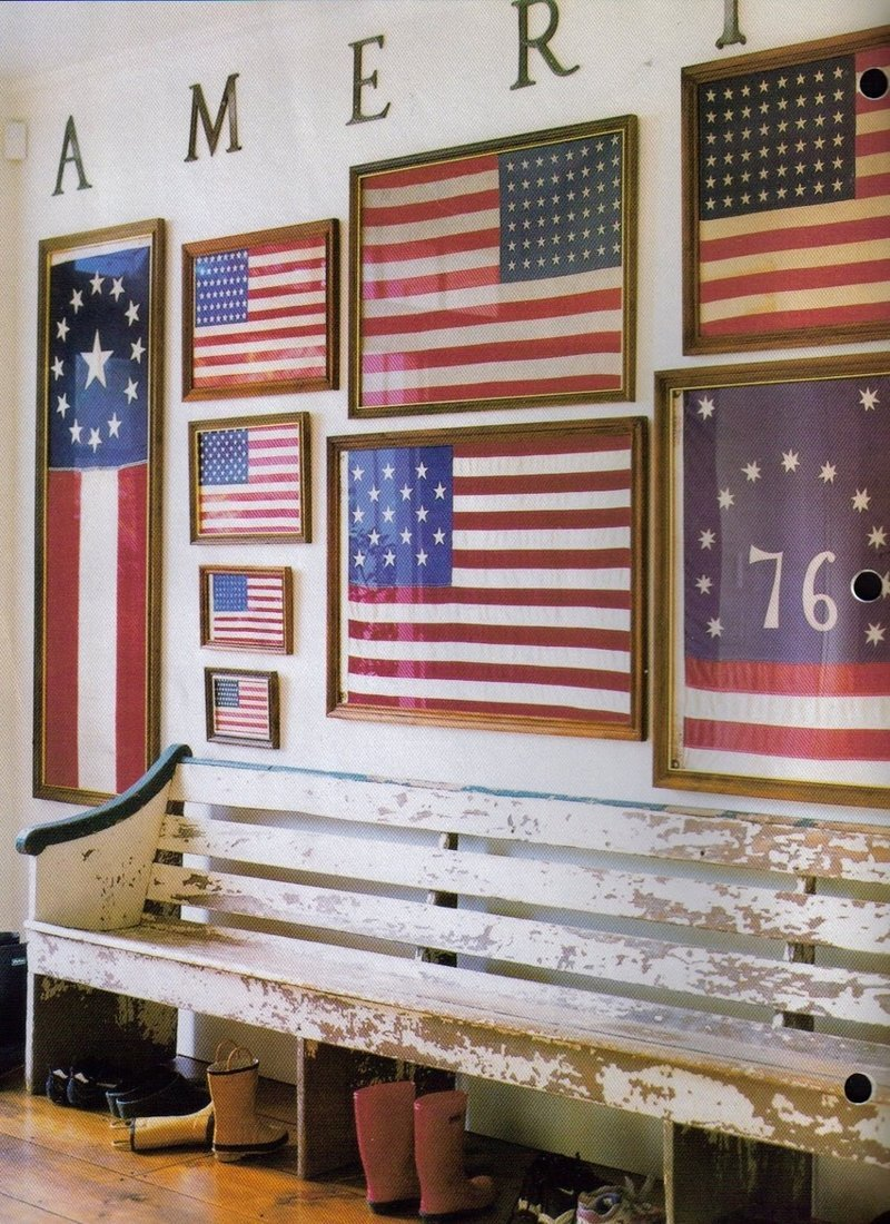 Gallery wall of American flags via Apartment Therapy