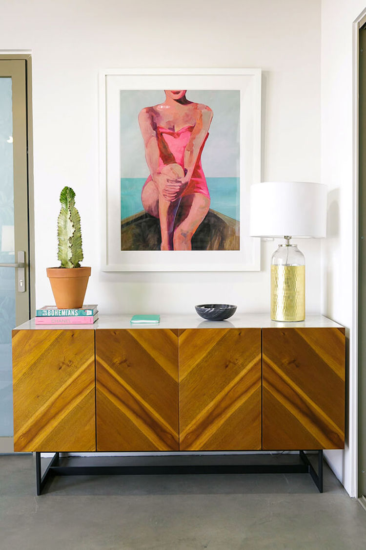 Mid-century wood sideboard in LA office space
