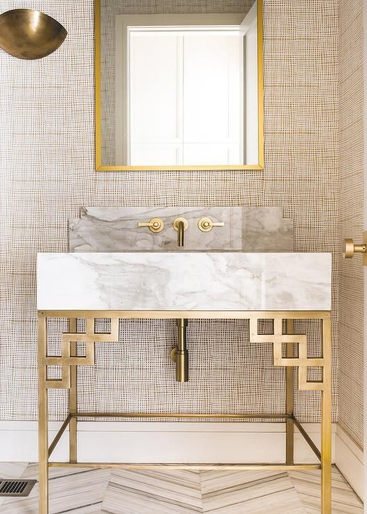 Neutral and gold tones bathroom via Coats Homes