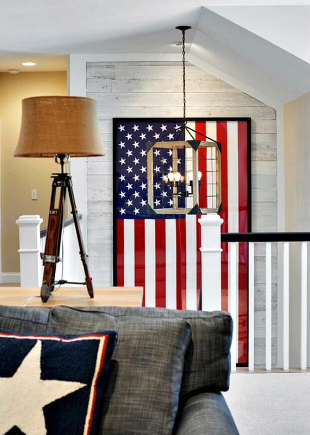 Staircase with American flag - Americana Decor