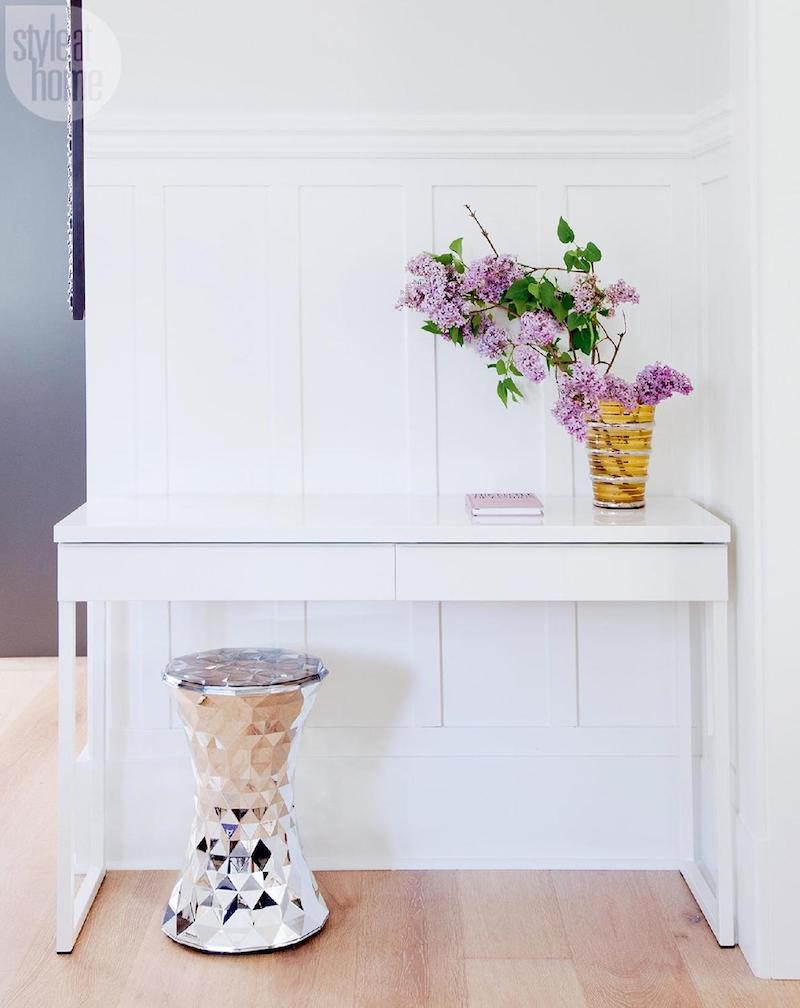 White console table with silver garden stool