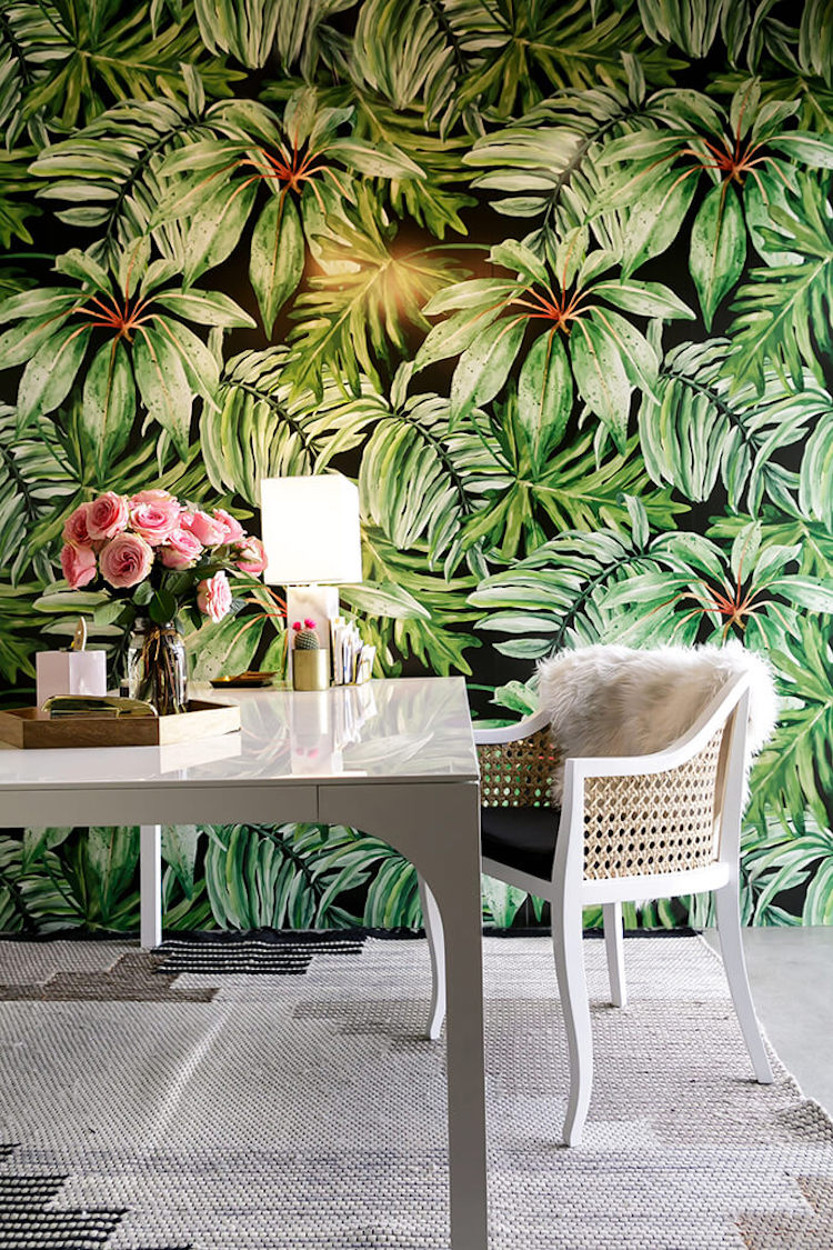 White desk with green palm wallpaper