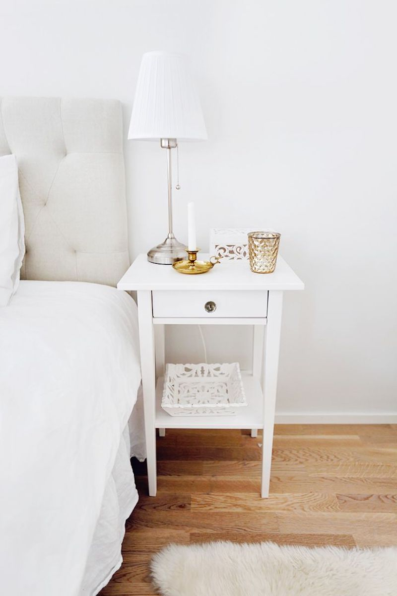 8 essentials for every bedside table white minimal nightstand with lamp and candle mozeypictures Image collections