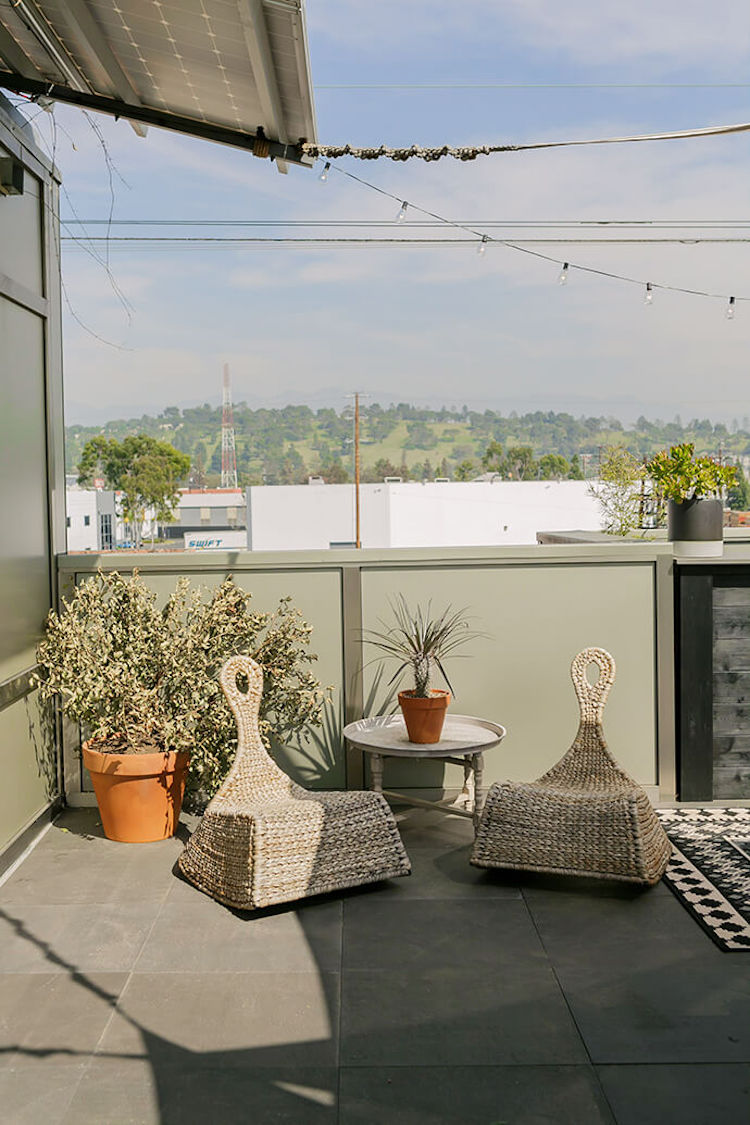 Wicker outdoor chairs in office space