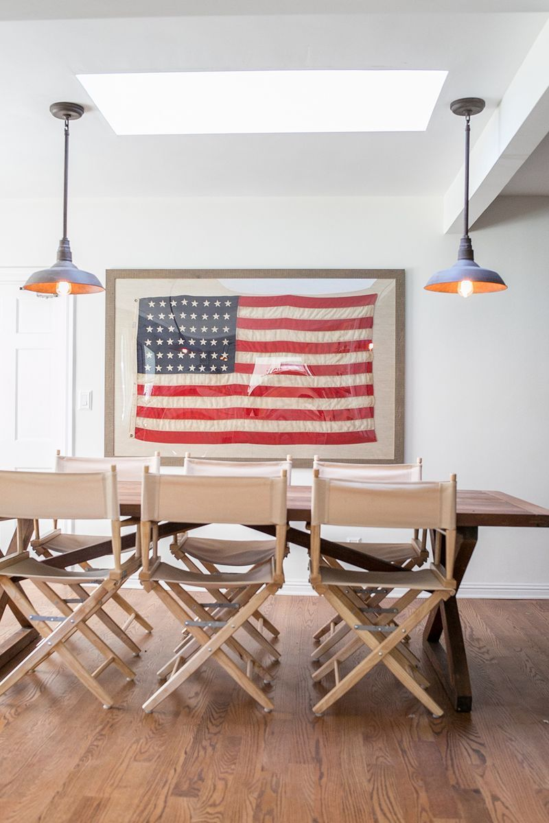 Wood dining table with framed American flag