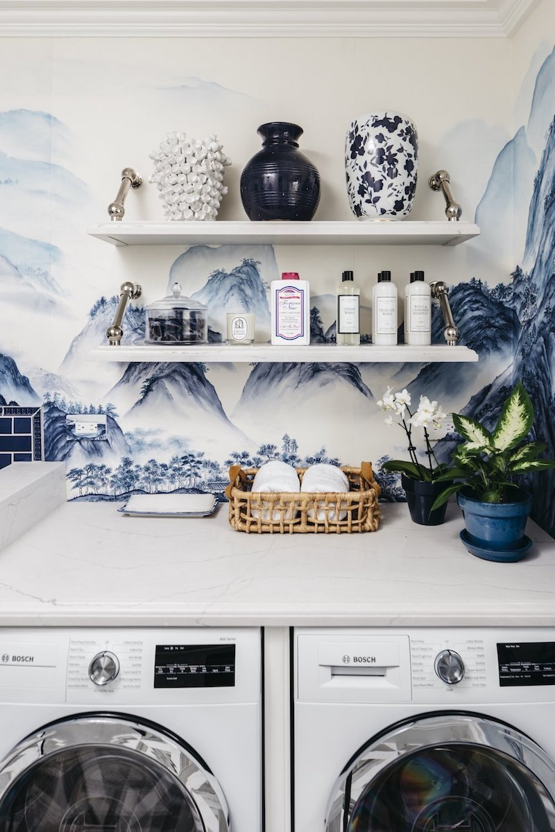 Blue Chinoiserie Wallpaper above Washing and Drying Machines