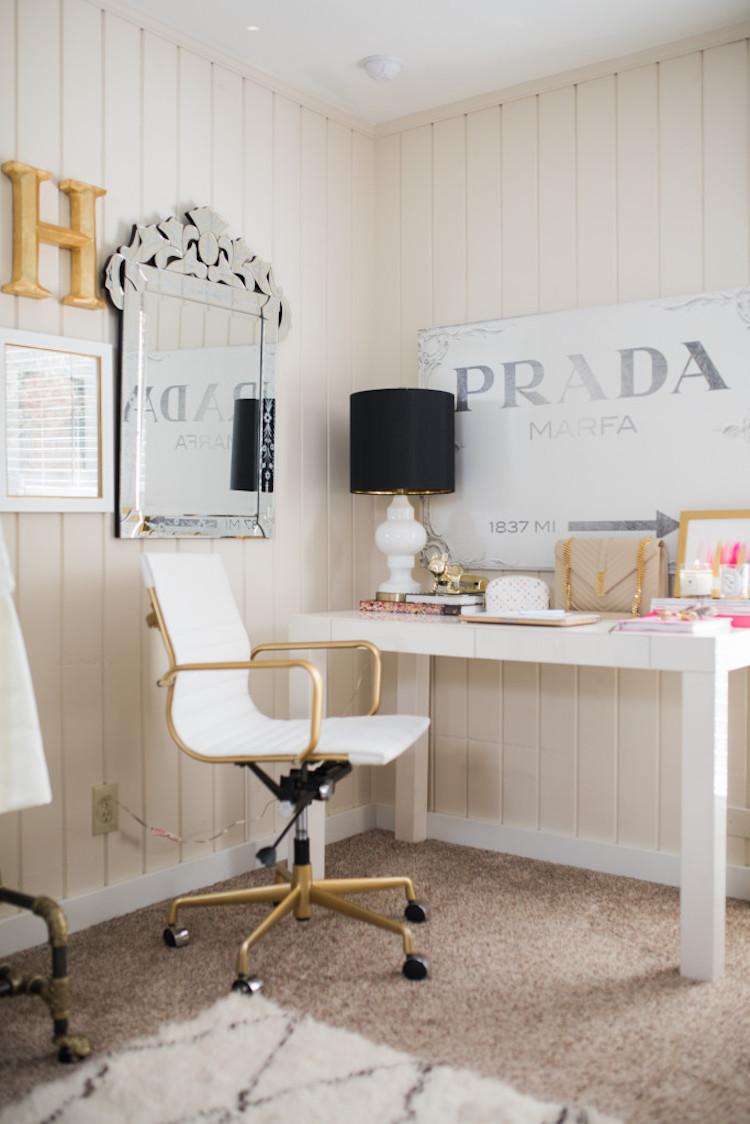 Contemporary Office Chair with Prada artwork via Chronicles of Frivolity