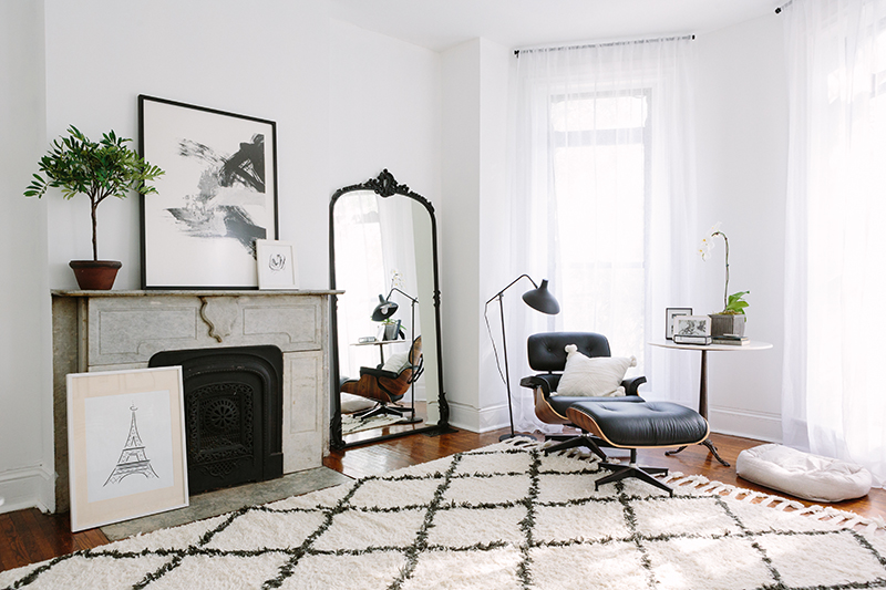 French-Inspired Bedroom Black Oversized Vintage Mirror