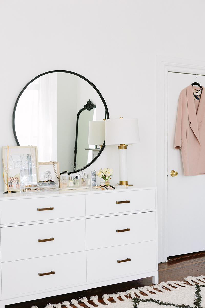 French-Inspired Bedroom White Dresser Round Mirror