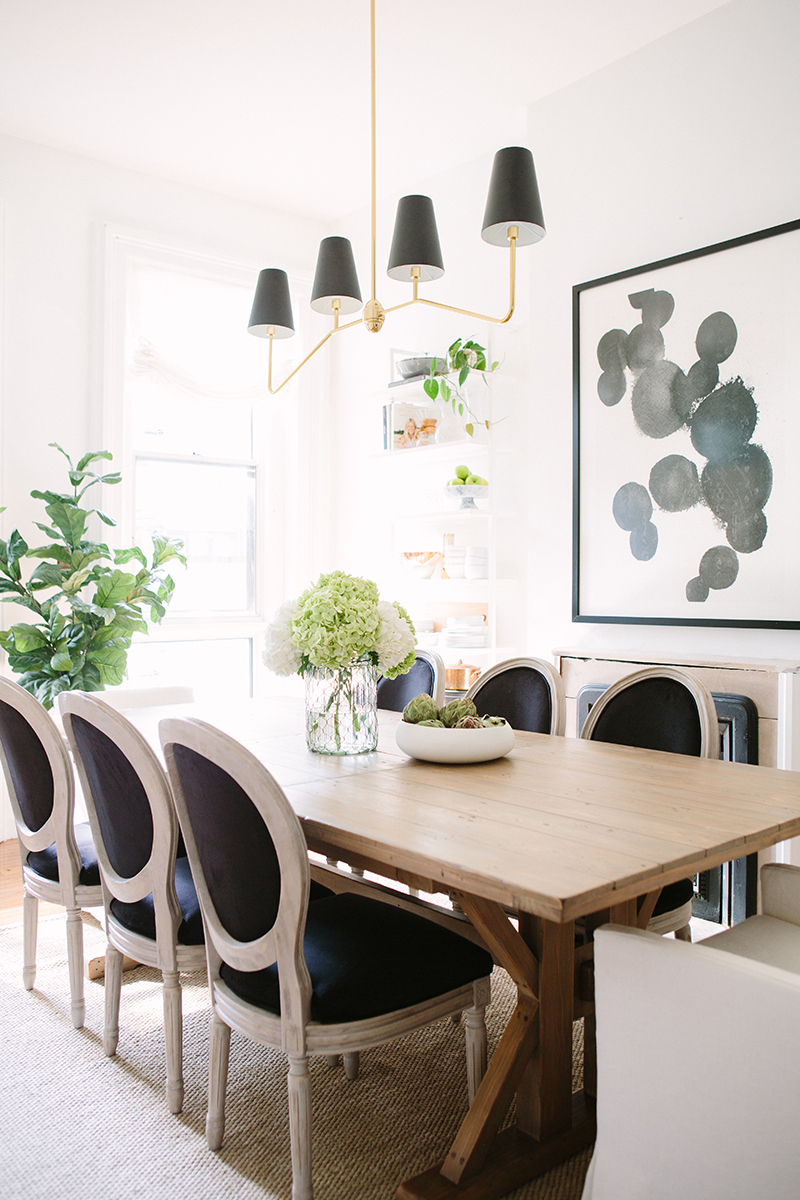 French-Inspired Dining Room Black Louis Chairs