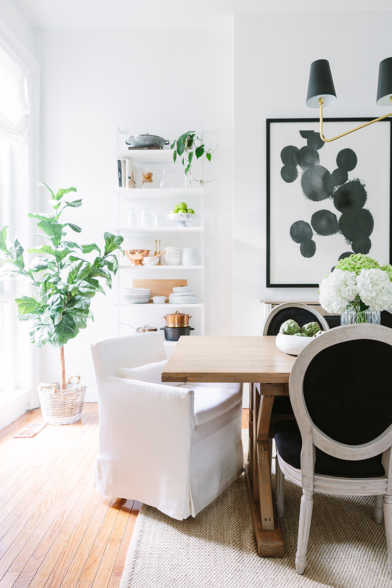 French-Inspired Dining Room White and Black Chairs