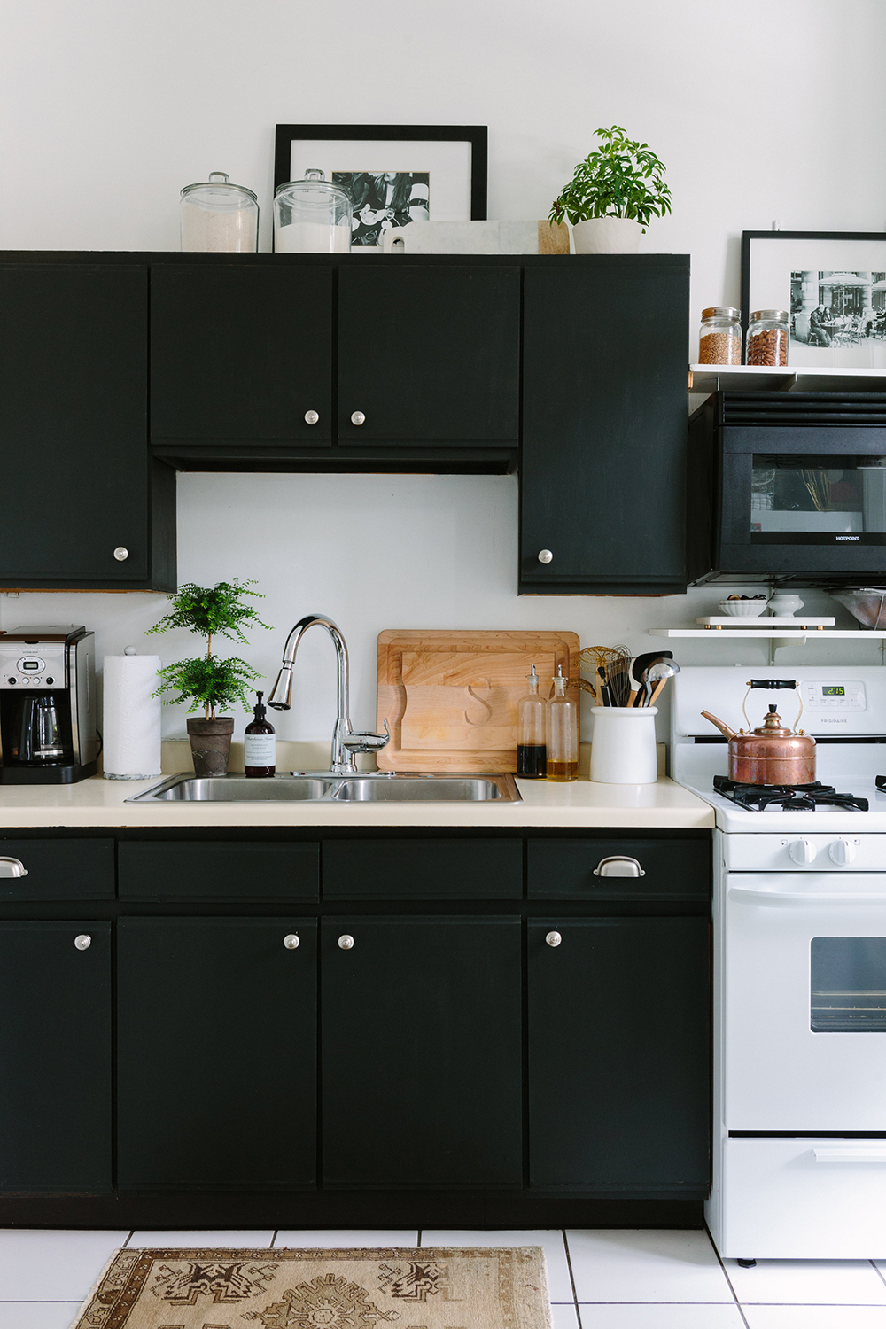 French-Inspired Kitchen Black Cabinets