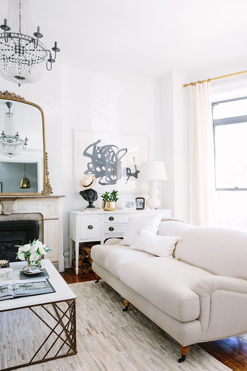 French-Inspired Living Room Beige Couch
