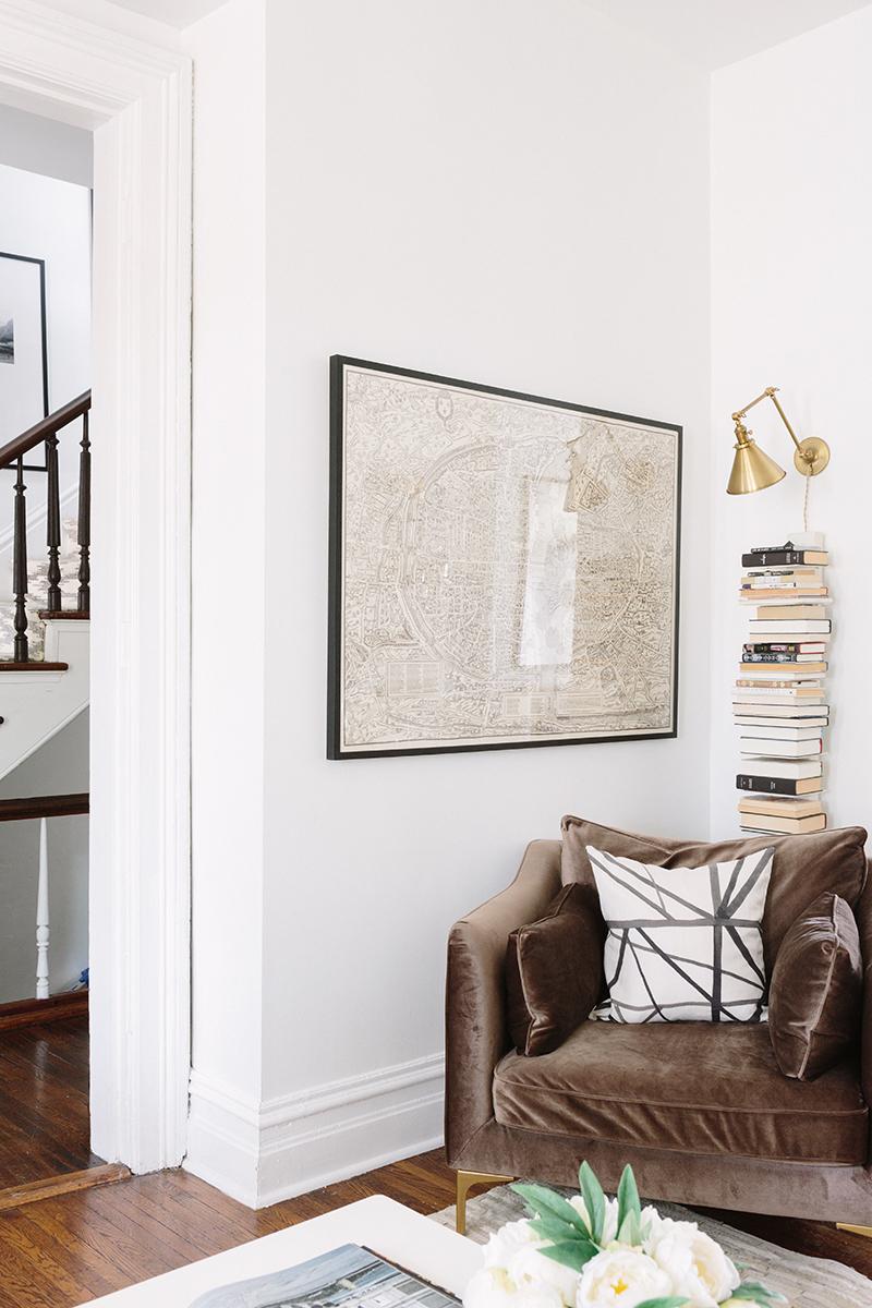 French-Inspired Living Room Brown Velvet Chair