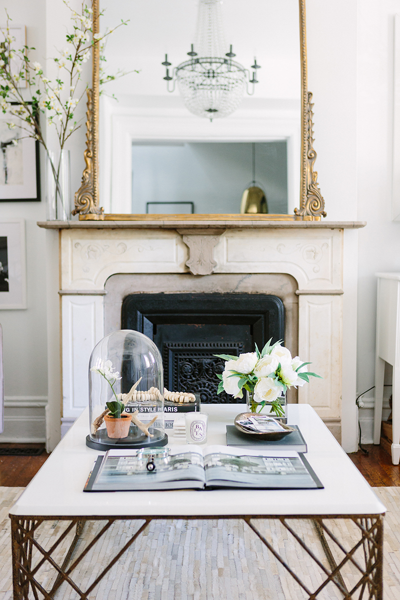 French-Inspired Living Room Fireplace and Coffee Table